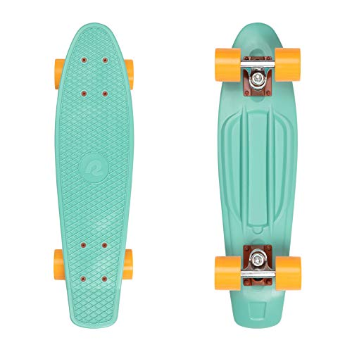 "Retrospec Quip Skateboard 22.5"" - Classic Retro Plastic Cruiser Complete Skateboard - Compact Board w/Grippy, Molded Waffle Deck"