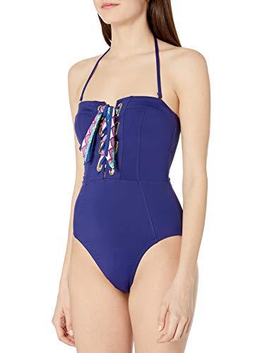 Trina Turk Women's Bandeau One Piece Swimsuit, Ultramarine//Paradise Plume, 10