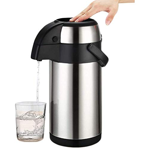 Geïsoleerde Pump Coffee Airpot, Roestvrij Staal Geïsoleerde Vacuum Met Safety in Elkaar Grijpende Grip En Transport, Thermos To The House, The Office,Silver