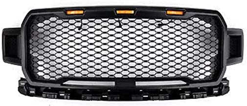 Front Bumper Grill for 2018 2019 Ford F-150 | Raptor Style Honeycomb Mesh & Amber Lights | by JX Accessories