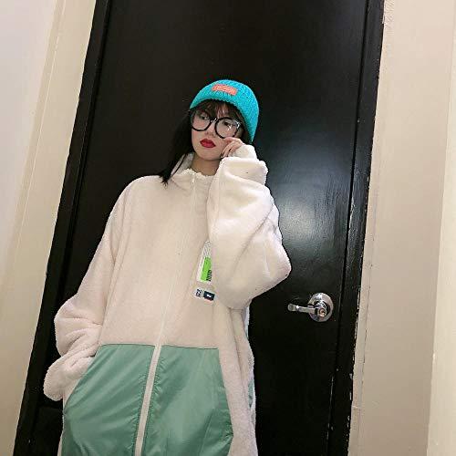 Abrigo de Felpa para Mujer diseño de Pegatinas de Calle de Invierno granular Chaqueta de Manga Larga de Felpa Suelta BF Mock Neck Tendencia Neutral