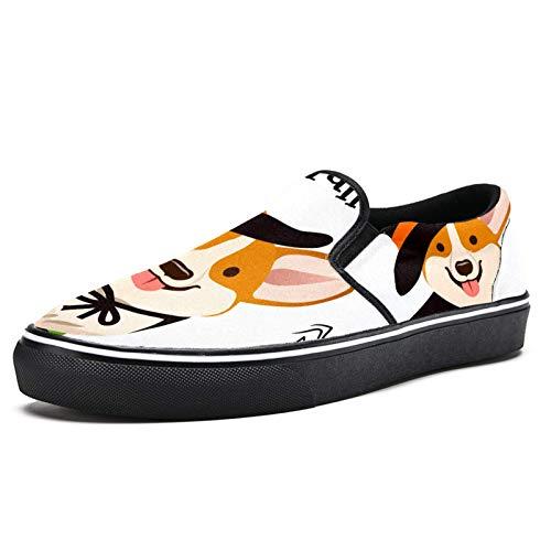 Anmarco Halloween bruja traje negro sombrero Cape Corgi cachorro perro resbaln en zapatos mocasines para mujer nia moda lona plana barco zapato, color Multicolor, talla 39 EU