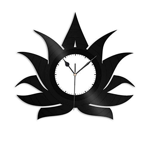 CXM WLONG 'ART Reloj de Pared con Disco de Vinilo de Flor de Loto, Idea de Regalo Hecha a Mano, decoración de Arte de Pared, Regalo de cumpleaños