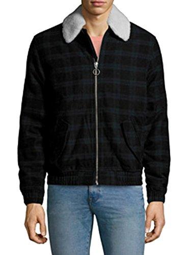 Bershka Herren Jacke Wollmischung Reißverschluss Mantel schwarz/dunkelgrün Karomuster - Schwarz - Groß