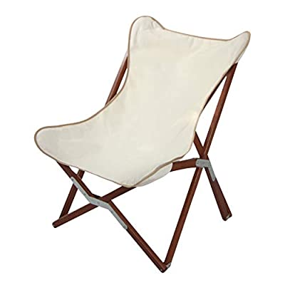 """BYER OF MAINE, Butterfly Chair, Easy to Fold and Carry, Hardwood, Sling Chair, Wood Beach Chair, Perfect for Camping, Matching Furniture with Pangean Line, 34"""" H x 23"""" W, 27"""" D, Single, Natural"""