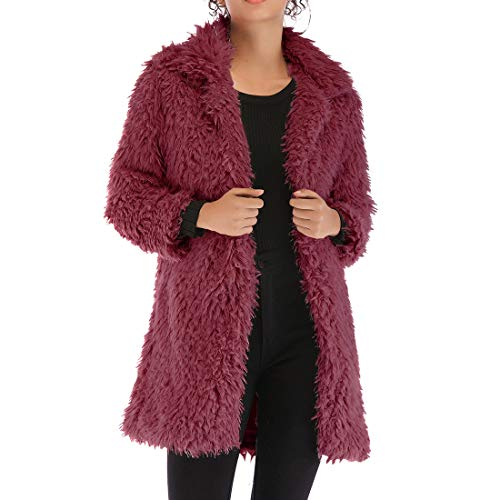 QJSZ Women Jacket Coat Long Sleeve Fluffy Fleece Lapel New Winter Warm Outerwear Cardigan Loose and Comfortable Fashion Elegant XXL