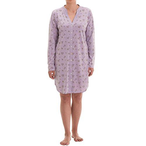 Zeitlos Nachthemd Emma mit Perlmutt Knopfleiste (XL, Flieder)