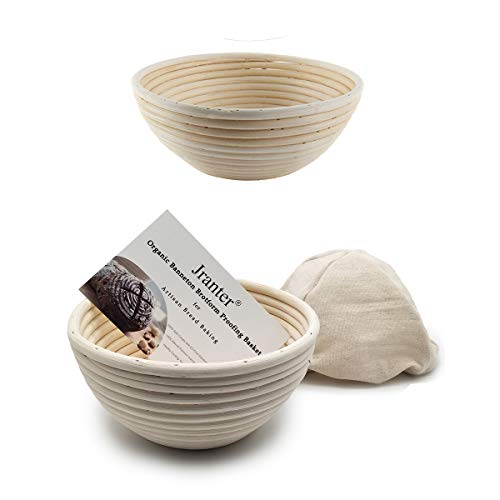 2 pack of 7 Inch Round Brotform Banneton Proofing Baskets with Linen Liner Clot Bread Bowl for Professional & Home Bakers