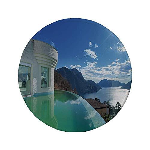 Rutschfreies Gummi-rundes Mauspad Reisedekor modernes Penthouse mit Infinity-Pool-Sommerferien-Themenbild Weiß und Hellblau 7,87 'x 7,87' x 3 mm