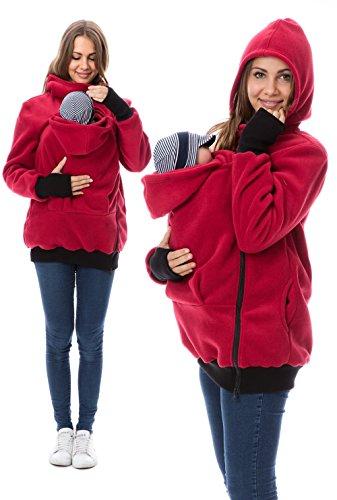 GoFuture 4in1 Babytragejacke für Mama,Papa und Baby Känguru Tragejacke aus Fleece mit Baby und Schwangerschaftseinsatz (S, Rot)