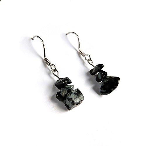 Joyas natural obsidiana, obsidiana, obsidiana pendientes piedra natural, Gema negro joya hecha a mano