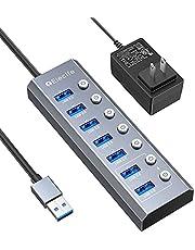 Elecife USB ハブ 3.0 Hub 7ポート 5Gbps高速 USB拡張 コンパクト セルフパワー/バスパワー 独立スイッチ付 5V/3A ACアダプタ付 電源付き アルミニウム