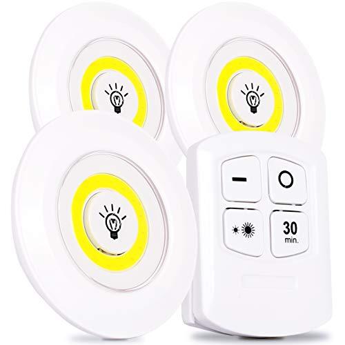 Luminária 3 Lâmpadas de Led Spot Branco frio 6500k Sem Fio Com Controle Remoto Sem fio e Fita Dupla Face