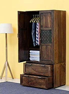Shilpi Handmade Classic Look or Standard Size Solid Wood Two Door & Drawers Wardrobe in Provincial Teak Finishing.