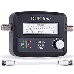 DUR-line® SF 2400 Pro - Satfinder - NOWOŚĆ - Przyrząd pomiarowy do dokładnego ustawienia cyfrowej miski satelitarnej - Finder wraz z kablem F i zrozumiałymi instrukcjami w różnych językach (en/en/fr/es)