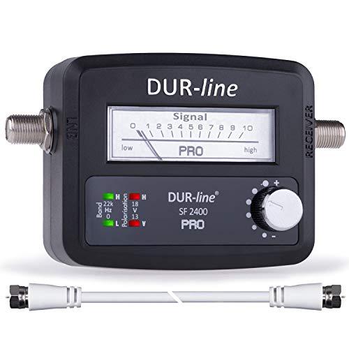 DUR-line® SF 2400 Pro - Satfinder - NEU - Messgerät zum exakten Ausrichten Ihrer digitalen Satelliten-Schüssel - Finder inkl. F-Kabel und verständlicher Anleitung in verschiedenen Sprachen (de/en/fr/es)