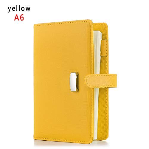 A6 / A7 Cuaderno de cuero, recargable Diario, Cuero Cuaderno Diario, 6 Anillo de moda del cuaderno de escritura, 190 páginas rayado beige (A6, amarillo)