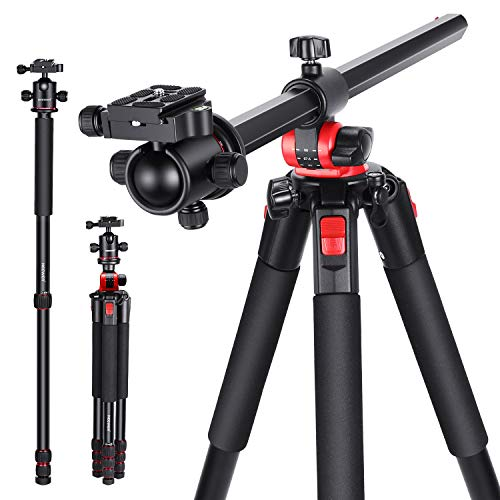 Neewer 2-in-1 Camera Tripod Monopod with 360 Degree Rotatable Center Column and Ball Head QR Plate - 72.5 inches Aluminium 4 Section Tripods Legs for DSLR Cameras Video Camcorders up to 33 pounds