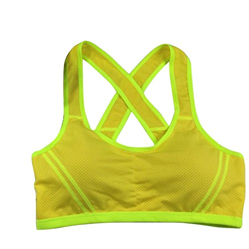 EFINNY Women Sports Bra Racerback Seamless Padded Stretch Fitness Yoga Workout Running Yellow