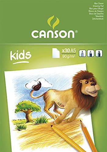 Canson Kids Papier à dessin 30 feuilles A5 14,8 x 21 cm Blanc