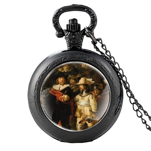 Clásico Retro De Nachtwacht Patrón Negro Vintage Cuarzo Reloj De Bolsillo Hombres Mujeres FOB Colgante Collar Horas Reloj Regalos