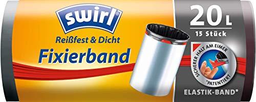 Swirl Fixierband-Müllbeutel, 20 Liter, 1 Rolle mit 15 Beuteln, Anthrazit