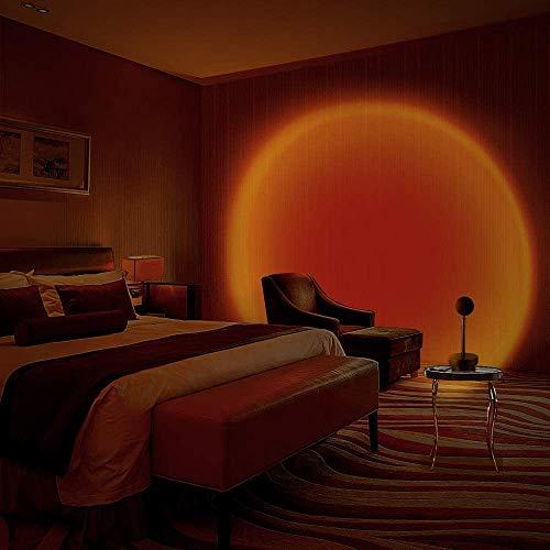 Lámpara de proyección Sunset, Luz Docturna,Sunset Projection Foor Lamp,Lámparas de pie,para Decoración ,Fondo,Dormitorio,Bodas, Cumpleaños, Fiestas, Festivales(Puesta del sol roja)