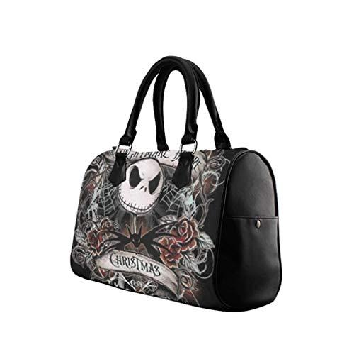 Jack and Sally Print Womens PU Leather Handbag Top Handle Barrel Design Satchel Shoulde Bag Lady Purse