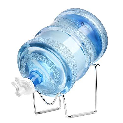 Flexzion Wasserspender-Ständer 2-5-Gallonen-Wasserkannenhalter Metallisierte Wiege mit Wasserspenderventil, staubdichter Stopfen, Holzstab für 55MM Crown Top-Wasserflaschen, Camping-Theke Heimgebrauch