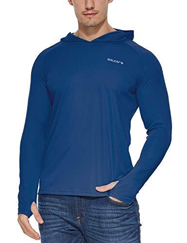 BALEAF Men's UPF 50+ Sun Protection Athletic Workout Long Sleeve Performance Hoodie T-Shirt Ocean Blue L
