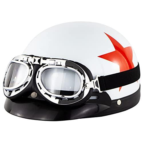 Adultos CascosAbiertosDeMoto RetroJetHalf-Helmet con Gafas Visor Casco De Motociclista ECE Homologado para Hombres/Mujeres MedioCasco para Electrico Scooter Touring Cross Patinete