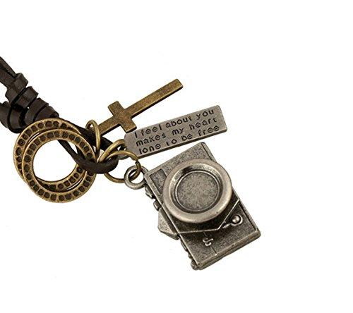 Fengteng Japanisch und Koreanisch Modeschmuck Jahrgang Kamera Fotograf Anhänger Halskette Lange Abschnitt Rindsleder Schnur Herren Ketten (Silber)