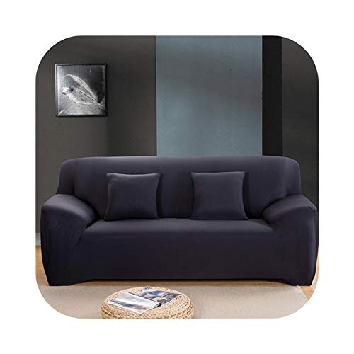 HCIUUI Solid Color Sofabezüge für Living Room Polyester Modern Elastic Corner Couch Cover Slipcovers Chair Protector 1/2/3/4 Seater-Black-4-Seat 235-300cm