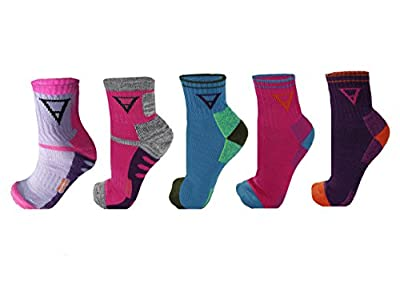 Hiking Socks 4 Pack - Womens/Mens Multi Performance Outdoor Wool Blend Sock (Small, Multi - 5 Pack)