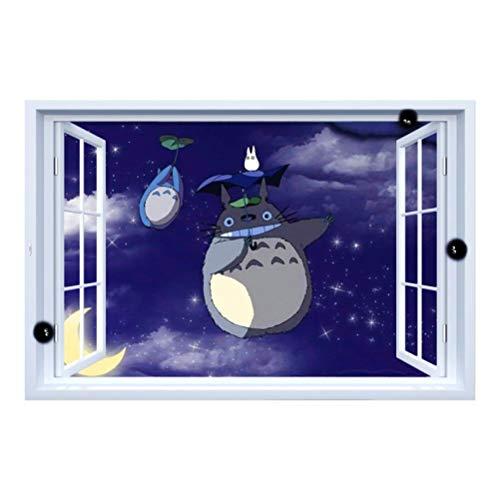 3d Muursticker Totoro Onder Het Nep Raam Cartoon Anime Maanlicht 60x90cm Slaapkamer Woonkamer Keuken Woondecoratie Behang