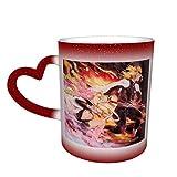 Kimetsu No Yaiba Ren Kyoujurou Tazza che cambia colore Tazza da caffè Design Tazza sensibile al calore in ceramica Tazza che cambia colore nel cielo Regalo di compleanno