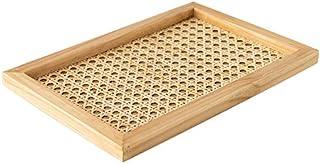 Heritan Plateau rectangulaire en rotin tissé à la main en bois fait à la main avec motifs géométriques et géométriques pou...