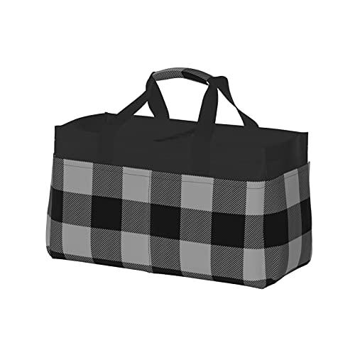 Extra große Einkaufstasche – Übergroßer Strandkorb aus Segeltuch, wiederverwendbare Einkaufstasche, großes Buffalo Plaid, schwarz und grau kariert