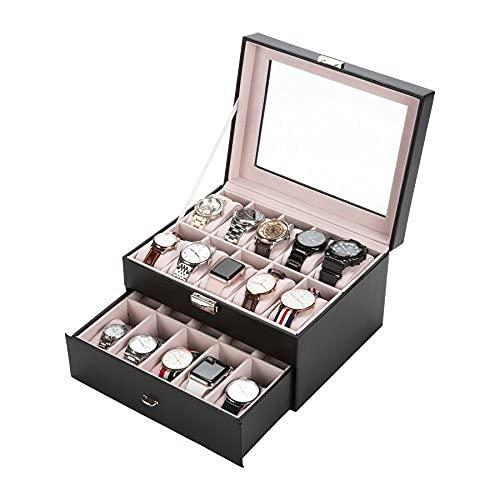 Sfeomi - Caja de reloj para reloj, elegante caja de almacenamiento, caja de almacenamiento con cerradura de piel sintética, color negro para 20 compartimentos