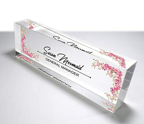 OOCLAS Personalized Desk Name Plate for Her, Nameplate Sign, Customized Office Décor Name Plate, Custom Name Plaque Design on Premium Acrylic Glass Block Size (12 x 3 x 1.25 Inches)