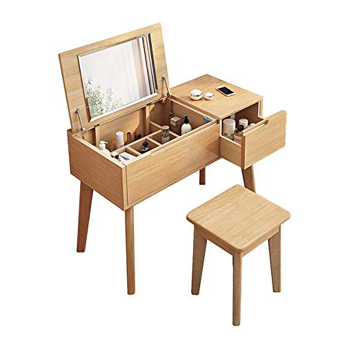 Schlafzimmer Schminktische mit Make-up Organizer & gepolsterten Hocker Flip Top Spiegel Gummi Holz 2 IN 1 Waschtisch Kids Faltbarer Schreibtisch