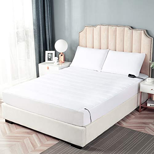 """STONECREST Low Voltage Heated Mattress Pad Waterproof Warm Electric Mattress Toppers with Max 8 Hour Auto ShutOff Fast Heating Quilted Microfiber Top Feel Cordless16"""" Deep Pocket Queen"""