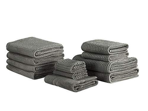Beliani Conjunto de 11 Toallas de algodón Grises ATAI