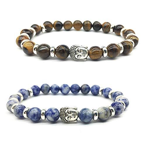 Natural Pulsera -YUESEN Bracelet Pulseras con Cuentas de Cristal para Mujer, Yoga Accesorio Perlas Piedras Regalo Navidad cumpleaños Original,2 Pcs