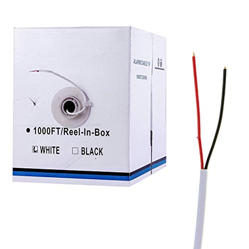 Five Star Cable 22AWG 2 Conductores 1000 pies Alarma Alambre 22/2 22-2 Cable de Seguridad Alarma Bulk Cable Blanco