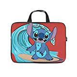 Stitch Surfing Red Laptop Bag Stylish Graphic Tablet Briefcase Lightweight Neoprene Notebook Bag for College Students White 17inch