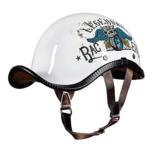 HSFJFDRT Medio casco de verano para motocicleta, retro, con cara abierta, con certificación DOT, para hombres y mujeres, medio casco para ciclomotor, ciclomotor, ciclomotor, XL = (59 ~ 60 cm)