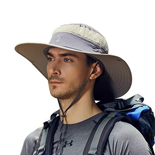 Cooltto Sombrero para el Sol Anti-UV UPF 50+ Sombrero de Pesca para Pesca al Aire Libre Gorra de 10cm de ala Ancha Transpirable Secado rápido para Acampar Senderismo Ciclismo-Gris Oscuro