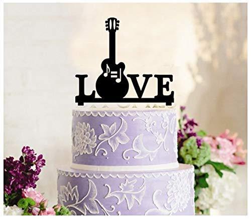 Cheyan Decoratie Cake Topper Cup Cake Topper Verjaardag Bruiloft Verjaardag Partij Gitaar Muziek Silhouette