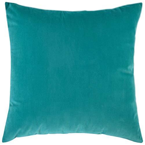 BlueCosto (1_Turquesa Terciopelo Fundas de Cojines Funda de cojín para sofá Almohada Dormitorio Coche Suave Decoración 45 x 45 cm